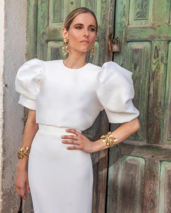 tendencia vestido novia manga abullonada
